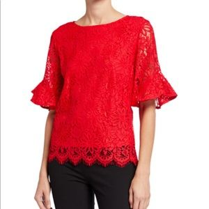 Nanette Lenore Lace Scallop Frill Sleeve Top Large